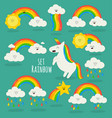 rainbow among clouds and unicorn vector image