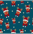reindeer star with red scarf on indigo blue vector image vector image