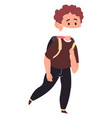 school boy wearing medical mask walking to school vector image vector image
