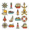 sea collection of ship icons in line style vector image