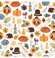 seamless thanksgiving day pattern with vector image