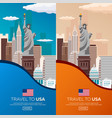 set travel to usa new york poster skyline statue vector image vector image