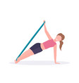 sporty woman doing exercises with resistance band vector image vector image