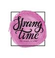 Spring time letteringWatercolor lilac splash vector image vector image