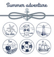 summer adventure monochrome poster with anchor vector image vector image