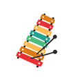 top view kids colorful xylophone with mallets vector image vector image