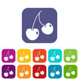 two cherry berries icons set flat vector image vector image
