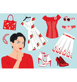 woman choose clothes vector image