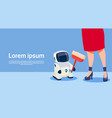 woman with modern robot cleaner futuristic vector image vector image