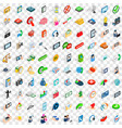 100 communication icons set isometric 3d style vector image vector image