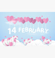14 february hanging with pink heart balloons vector image