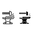 anvil with hammer line and glyph icon blacksmith vector image