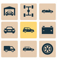automobile icons set collection of accumulator vector image vector image