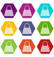 beautiful bag icon set color hexahedron vector image vector image