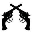 black silhouette of retro revolvers vector image vector image