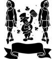 black silhouettes of two irish girls and vector image
