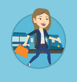 businesswoman at train station vector image