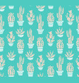 cactus hand-drawn seamless pattern grunge vector image vector image