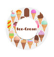 cartoon ice cream collection - ice cream round vector image vector image