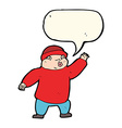 cartoon man in hat waving with speech bubble vector image vector image