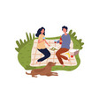 caucasian couple drinking wine and eating vector image