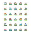 city buildings flat icons vector image