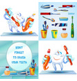 cleaning toothbrush banner set cartoon style vector image