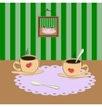 cup of coffee on the table vector image vector image