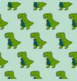 Cute 90s dinosaurs green seamless pattern vector image