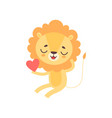 cute lion holding red heart funny african animal vector image