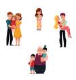 family members hugging - parents children vector image