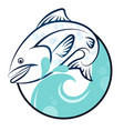 fish on waves vector image vector image