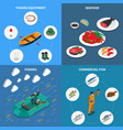 fishing concept icons set vector image vector image