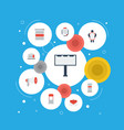 flat icons megaphone laptop customer summary and vector image