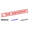 grunge 1 year anniversary scratched rectangle vector image vector image