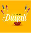 happy diwali elegant design with diya and rocket vector image