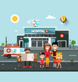 happy family in front hospital building vector image vector image