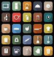 Kitchen flat icons with long shadow vector image vector image