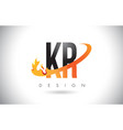 kr k r letter logo with fire flames design and vector image vector image