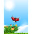 Ladybug flying in the garden vector image vector image