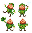 leprechaun cartoon character set for saint vector image
