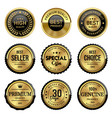 luxury gold quality labels vector image