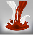milk chocolate splash motion fluid vector image