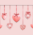 pink seamless border with romantic heart garland vector image vector image
