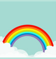 rainbow in the sky fluffy cloud in corners vector image vector image
