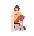 sad sleepy young woman drinking coffee concept vector image vector image