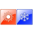 season buttons with snowflake and sun vector image vector image