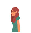 smiling girl with long hair side view vector image vector image