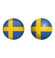 sweden flag under 3d dome button and on glossy vector image vector image