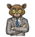 tarsier businessman color sketch engraving vector image vector image